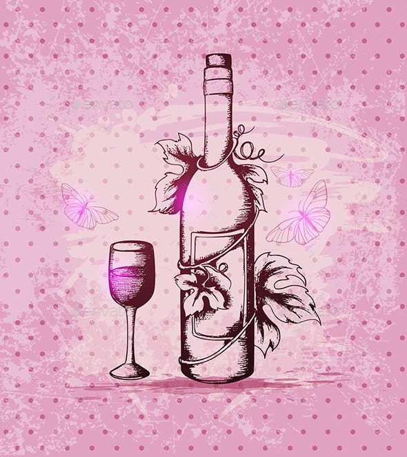 Bottle of Wine on a Pink Background - Food Objects
