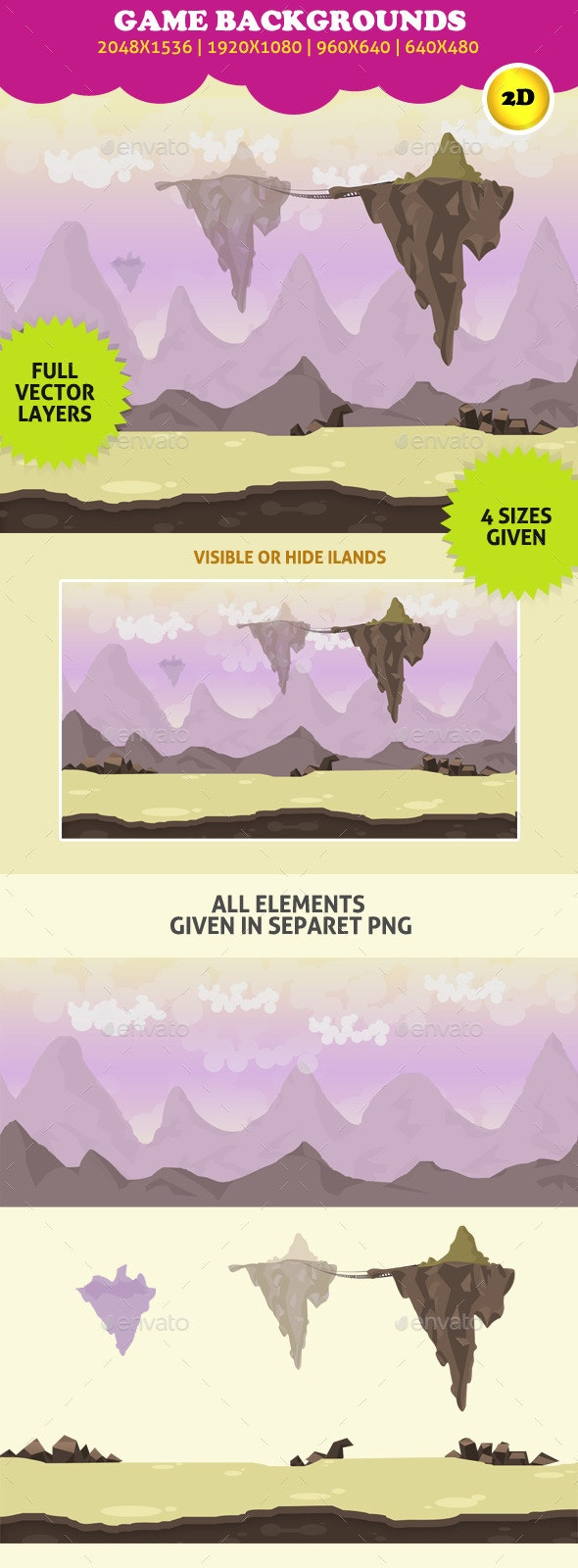 Game Backgrounds: Floating Island - Backgrounds Game Assets