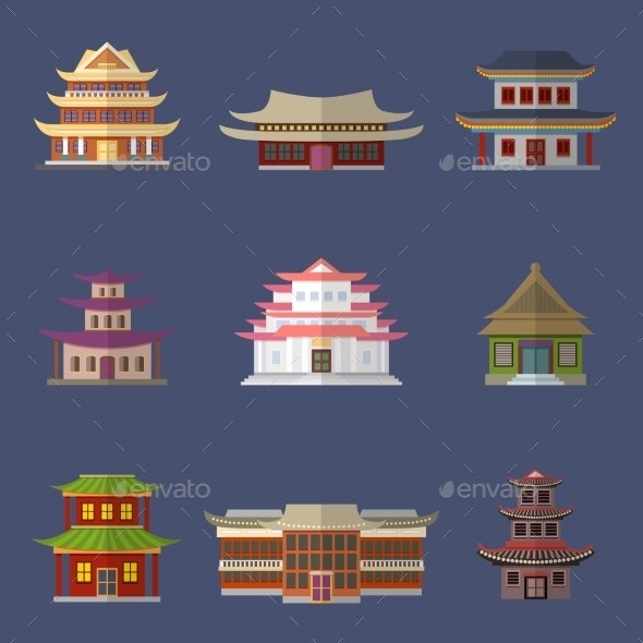 Chinese House Icons - Buildings Objects