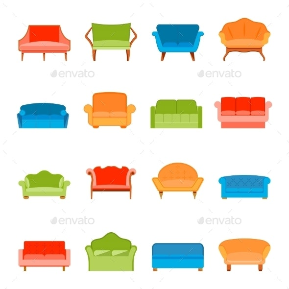 Flat Sofa Icon  - Man-made Objects Objects