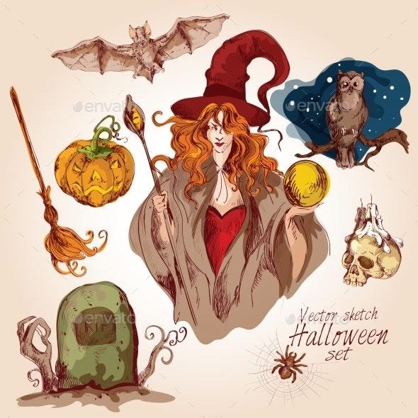 Halloween Colored Sketch Set - Halloween Seasons/Holidays