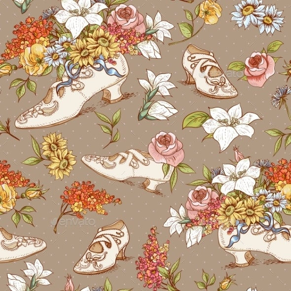 Seamless Vintage Flowers and Shoes Background - Patterns Decorative