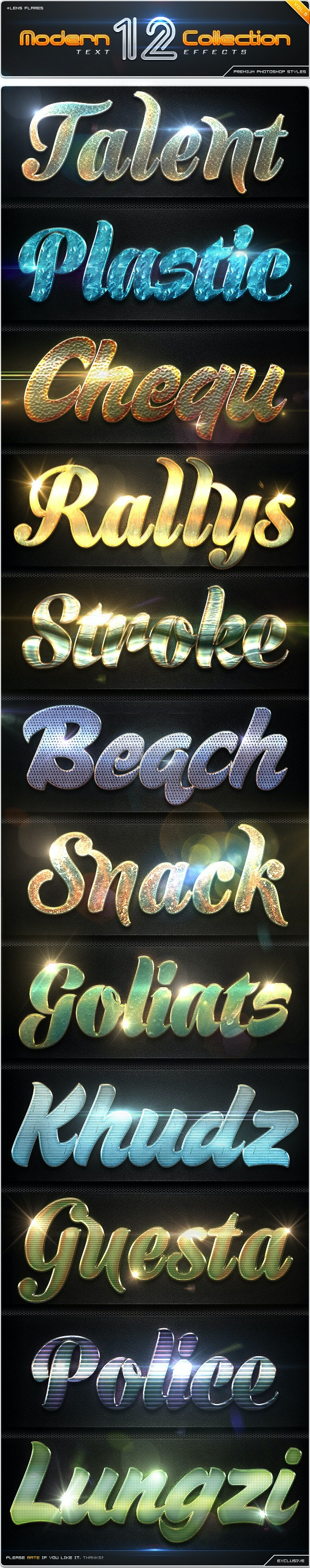 12 Modern Collection Text Effect Styles Vol.5 - Text Effects Styles