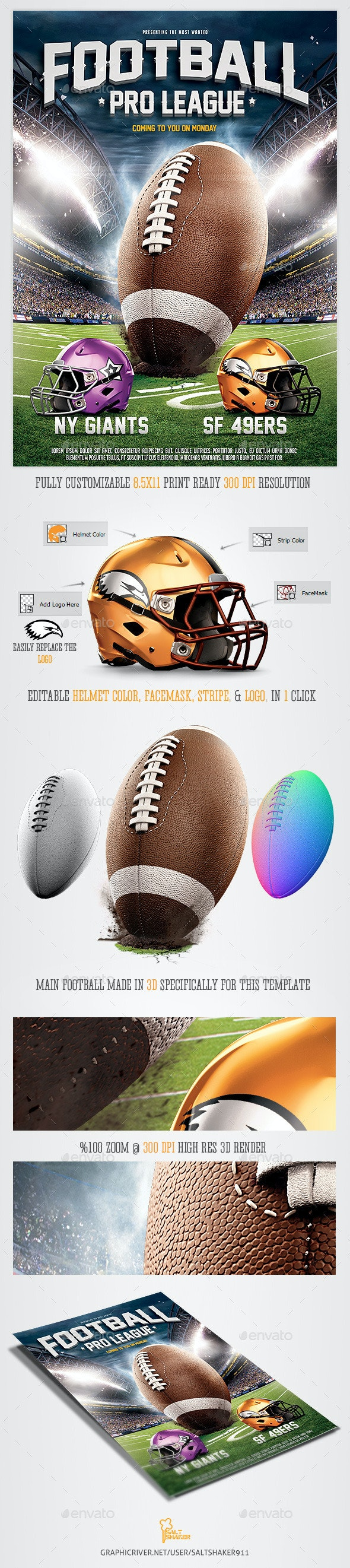 American Football League Flyer Template - Sports Events