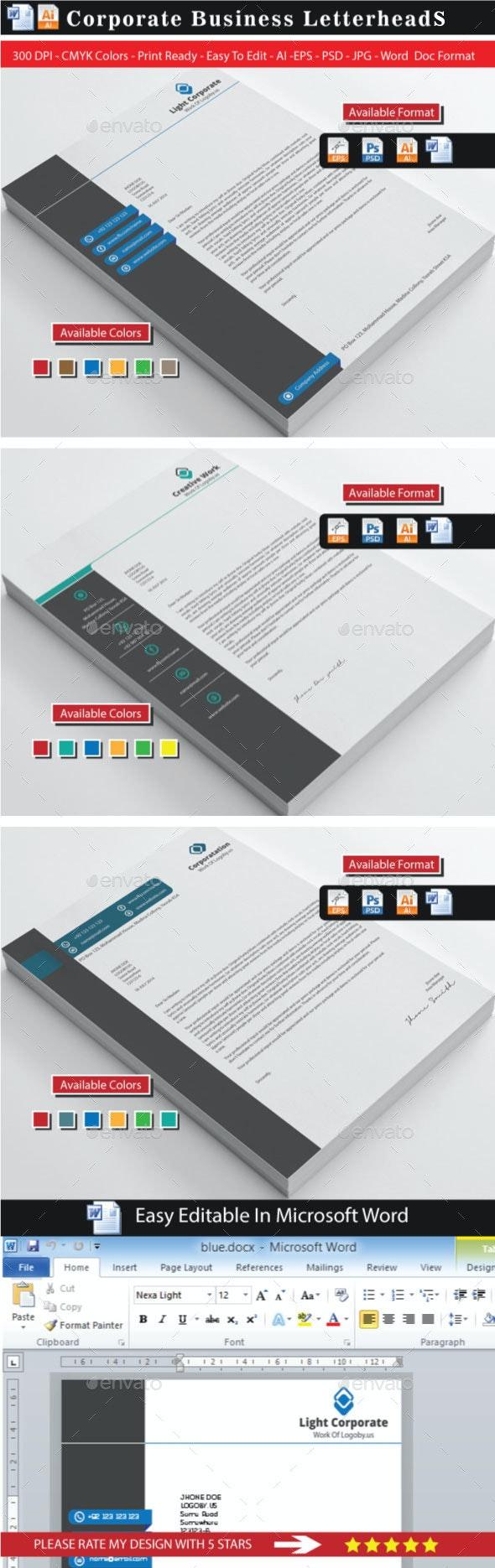 Corporate Modern Letterhead Bundle - Stationery Print Templates