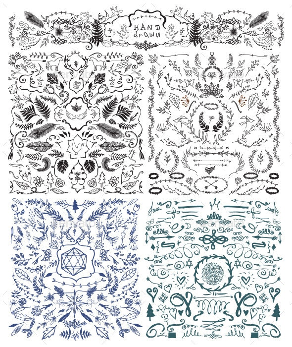 Hand Drawn and Vintage Design Elements - Decorative Symbols Decorative