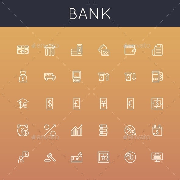 Vector Bank Line Icons - Business Conceptual