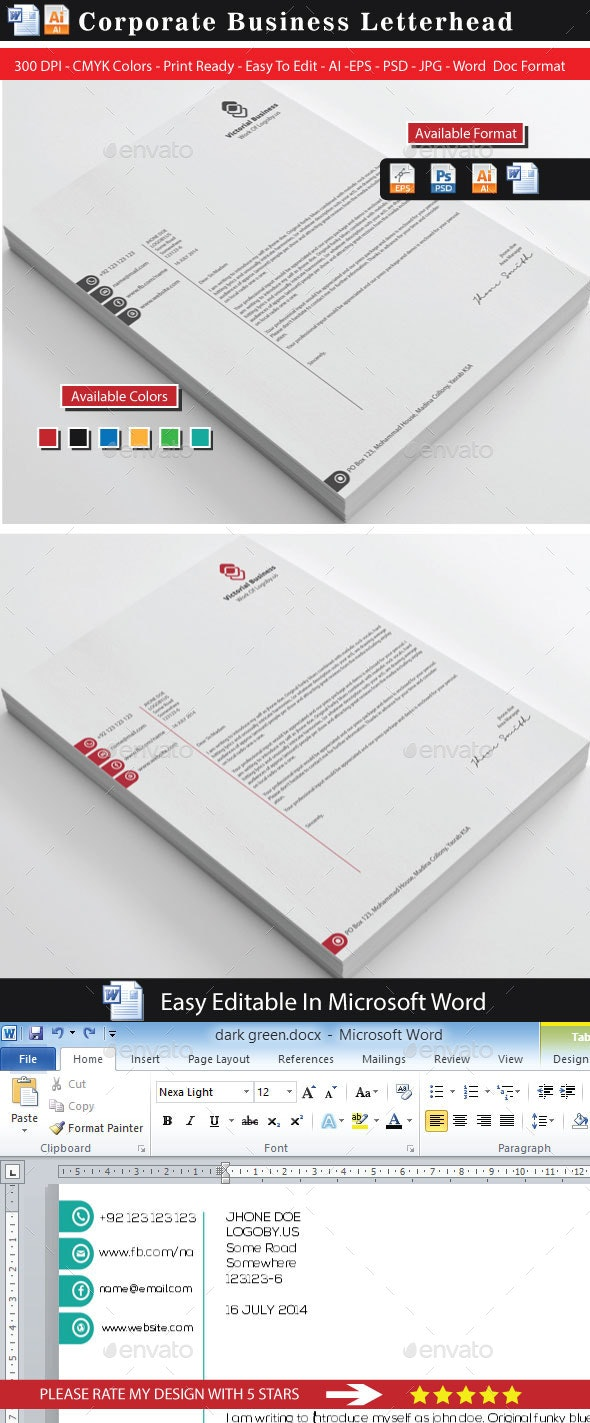 Vectorial Business Letterhead - Print Templates
