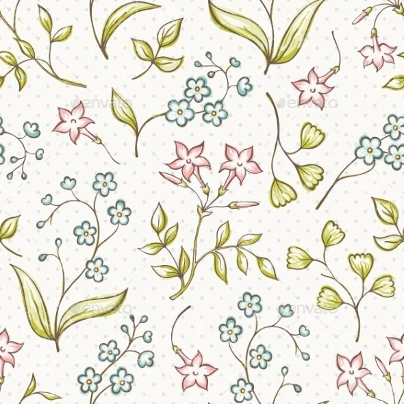 Beautiful Seamless Pattern with Forget-Me Not - Patterns Decorative