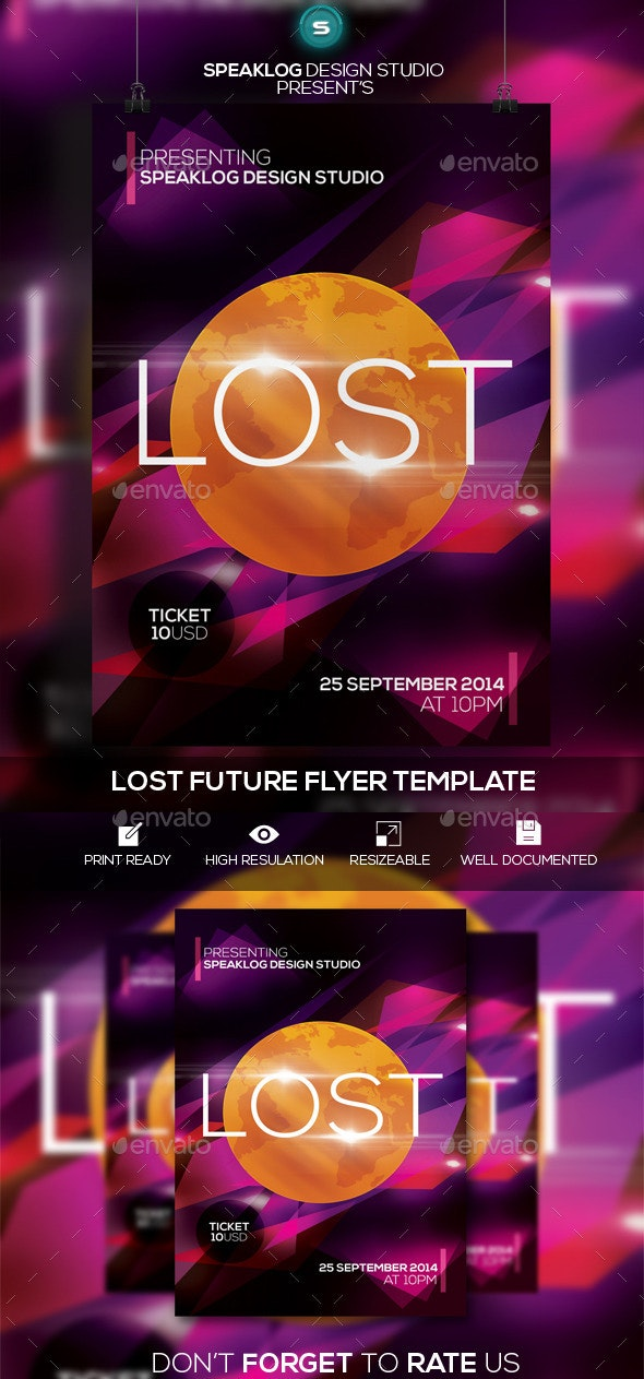 Lost Futuristic Flyer Design - Clubs & Parties Events