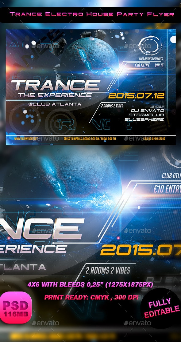 Trance Electro House Party Flyer - Events Flyers
