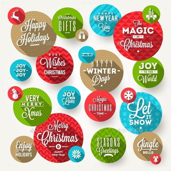 Set of Frames with Christmas Greeting - Christmas Seasons/Holidays