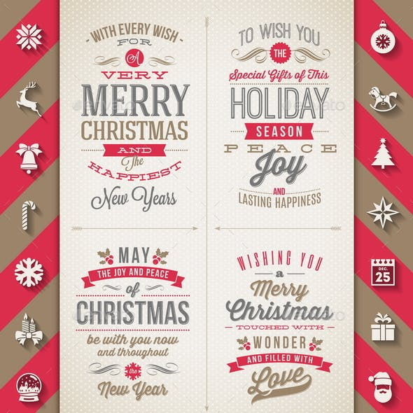 Set of Christmas Type Designs and Flat Icons