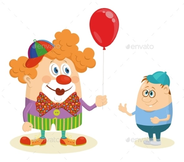 Circus Clown with Balloon and Boy - People Characters