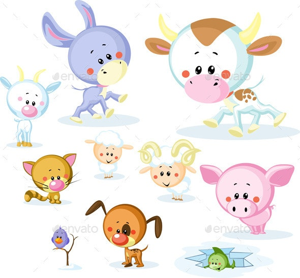 Farm Animals - Cow, Pig, Goat, Ram, Sheep - Animals Characters