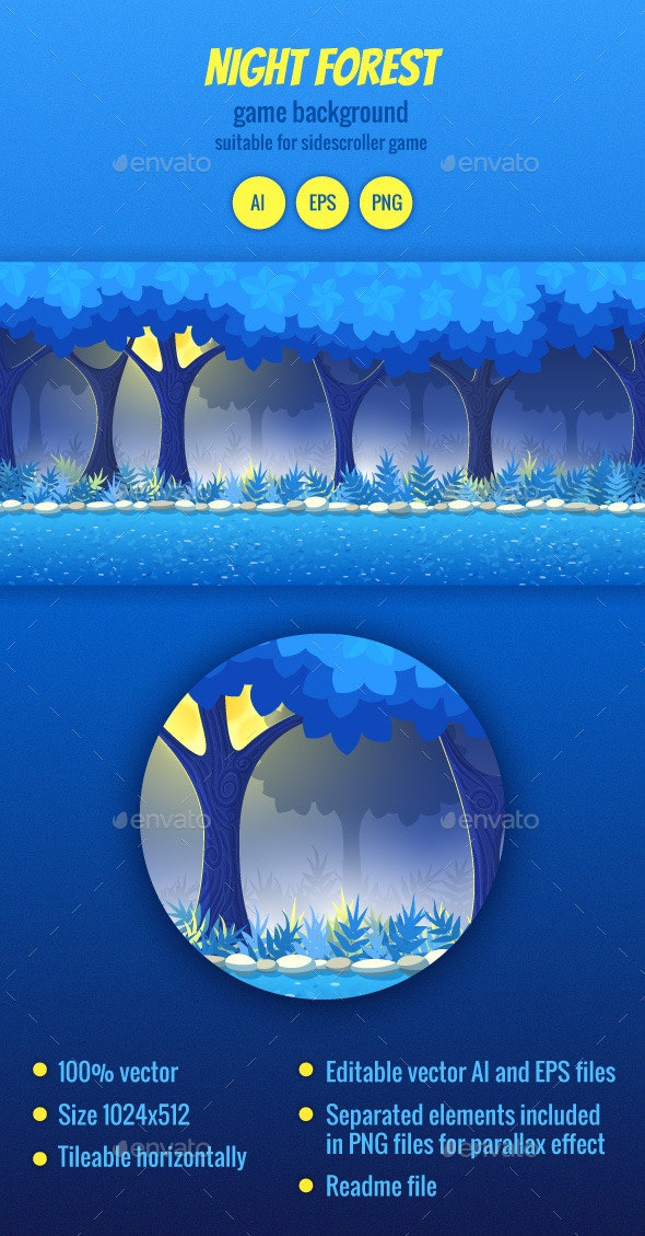 Night Forest Game Background - Backgrounds Game Assets