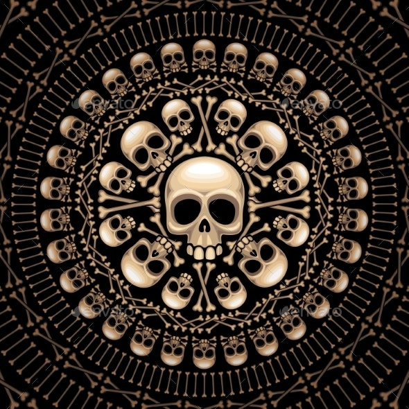 Skulls and Bones Rosette - Halloween Seasons/Holidays