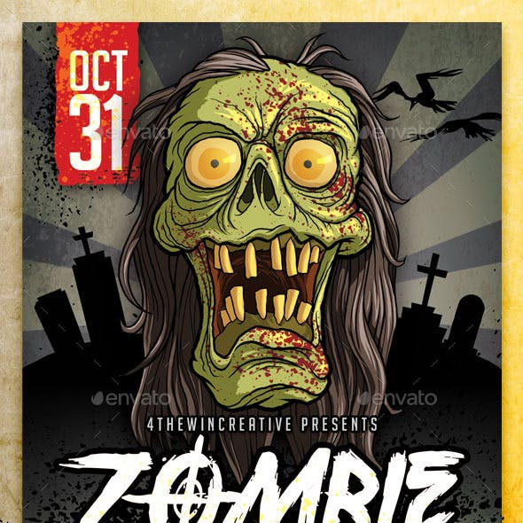 Spooky Zombie Party Flyer Template