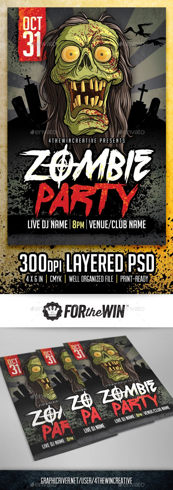 Spooky Zombie Party Flyer Template - Clubs & Parties Events