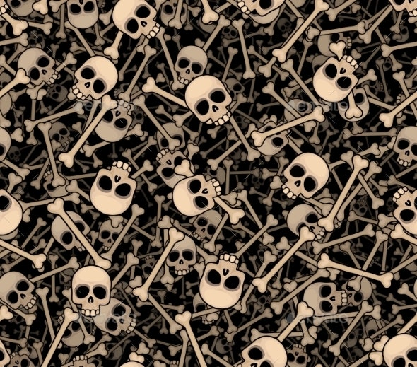 Skulls and Bones Seamless Background - Halloween Seasons/Holidays