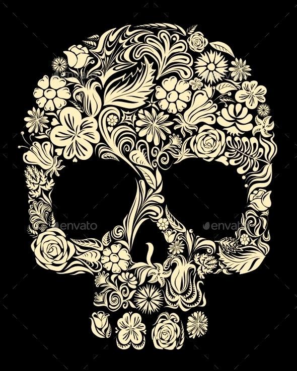 Floral Skull - Halloween Seasons/Holidays
