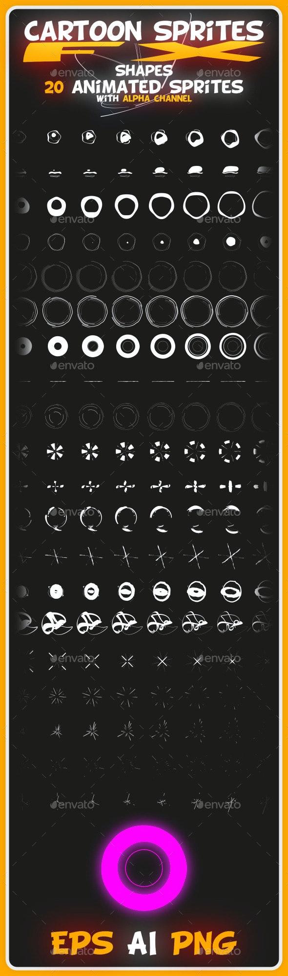 Cartoon Sprites FX (Shapes) - Sprites Game Assets