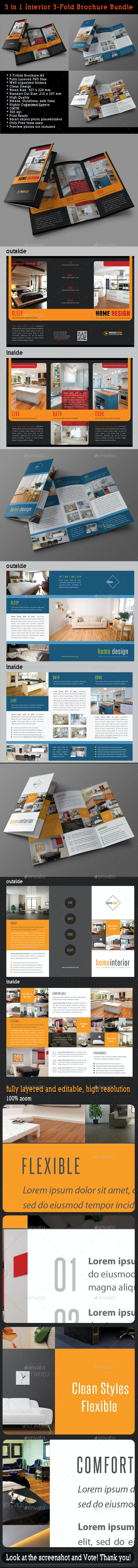 3 in 1 Interior 3-Fold Brochure Bundle 04 - Corporate Brochures
