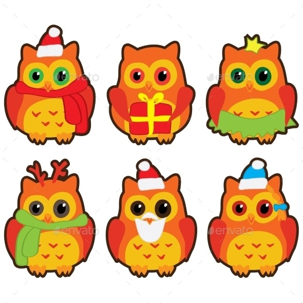 Christmas Owls - Christmas Seasons/Holidays