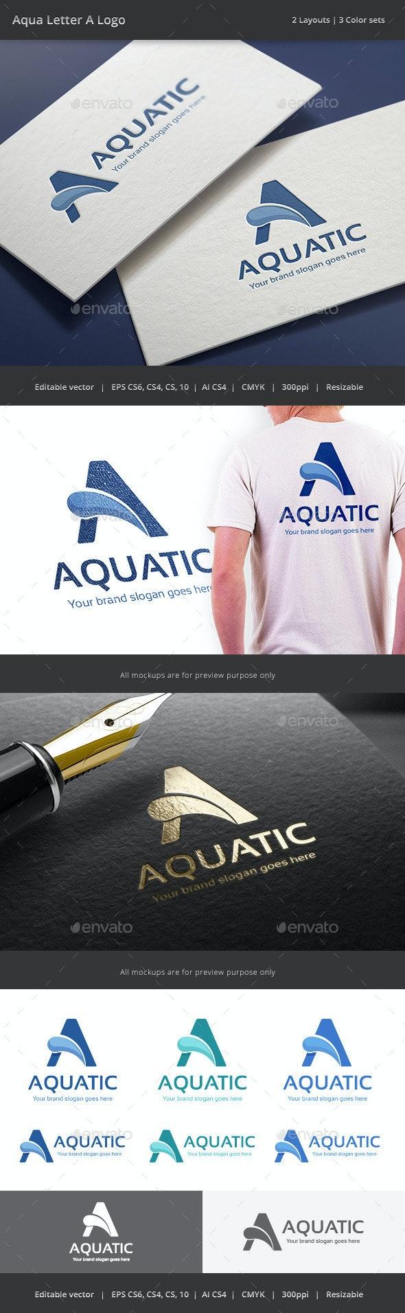 Aqua Letter A Logo - Letters Logo Templates