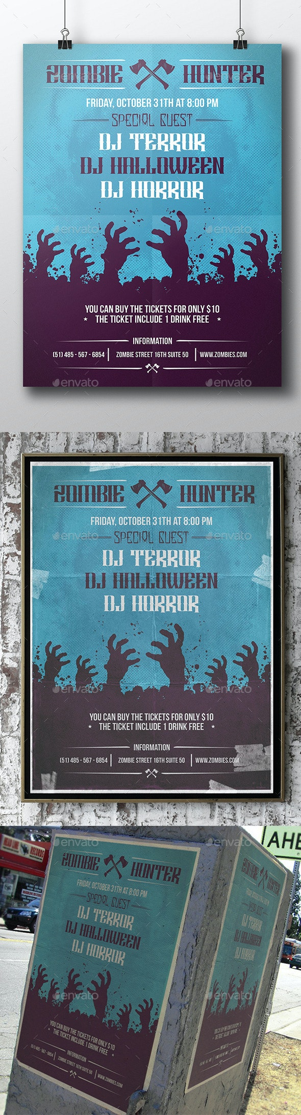 Zombie Halloween Party Flyer - Holidays Events