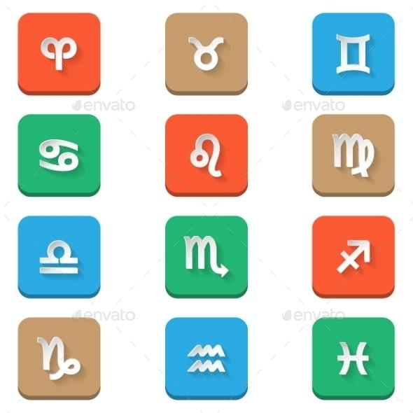 Zodiac Icons - Decorative Symbols Decorative