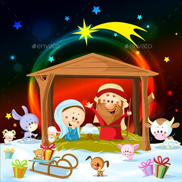 Christmas Nativity with Lights and Animals
