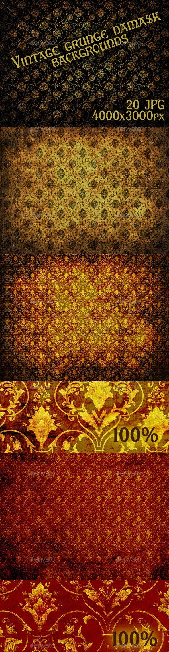 Vintage Grunge Damask Backgrounds - Backgrounds Graphics
