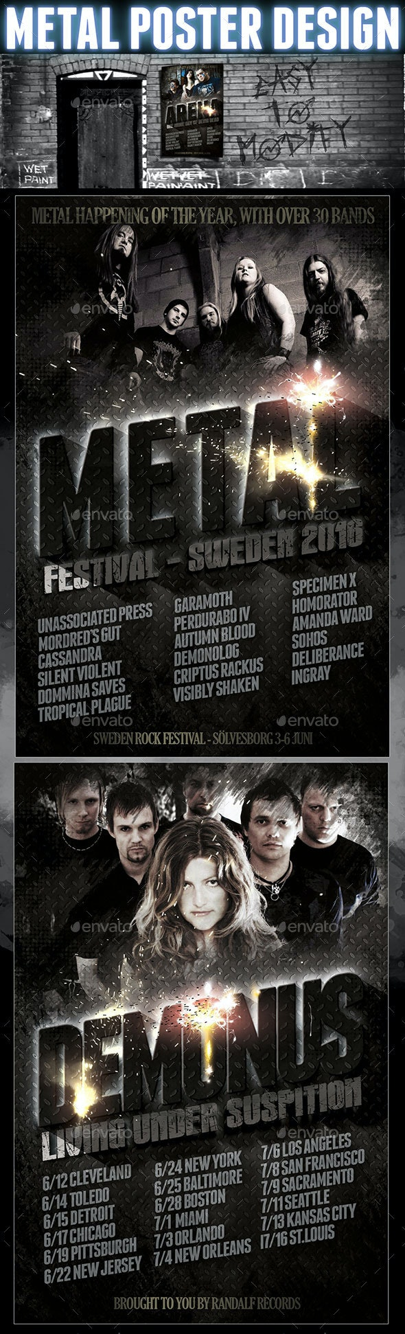 Heavy Metal Card Design Template - Concerts Events