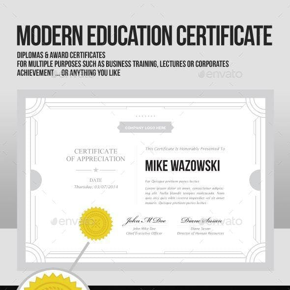 Modern Education Teaching diploma award Certificat