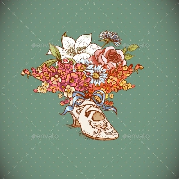 Vintage Background with Flowers and Shoes - Patterns Decorative