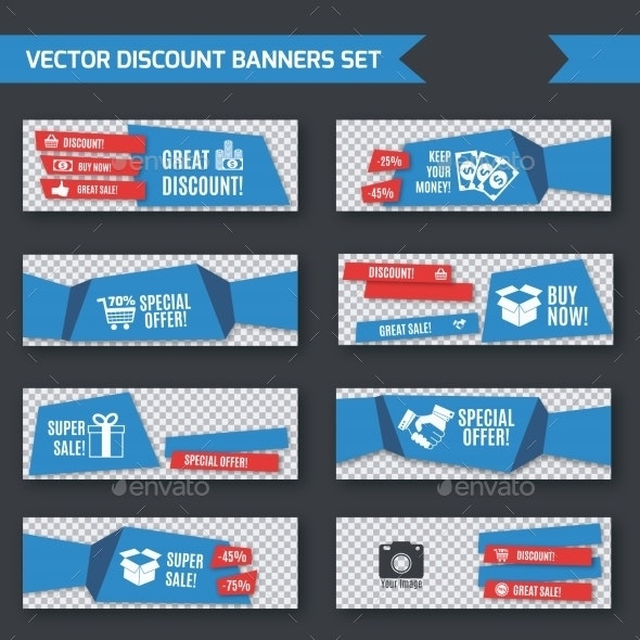 Discount Banners Blue Origami Set - Retail Commercial / Shopping