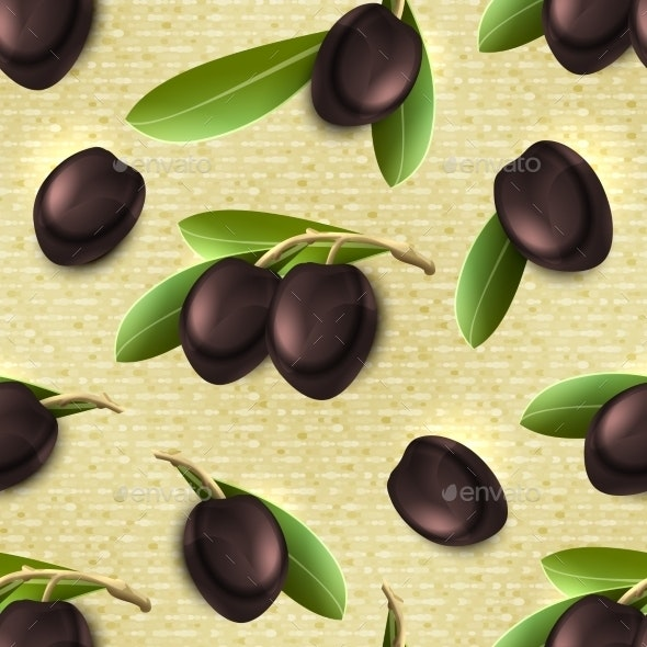 Olive Seamless Pattern - Food Objects