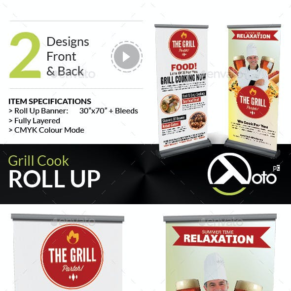 Grill Cook Outdoor Kebab Party Roll Up Banners