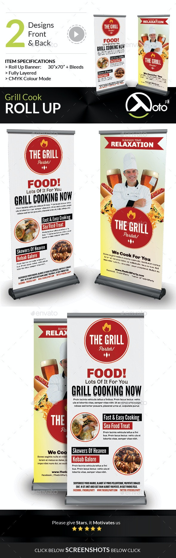 Grill Cook Outdoor Kebab Party Roll Up Banners - Signage Print Templates