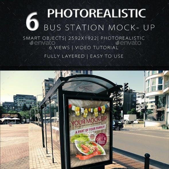 6 Photorealistic Bus Station Mock Up