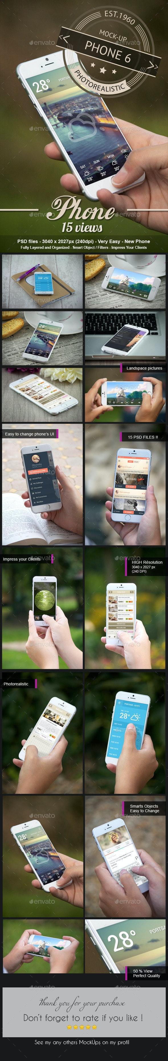 Photorealistic Phone 6 Mock-Up - Mobile Displays