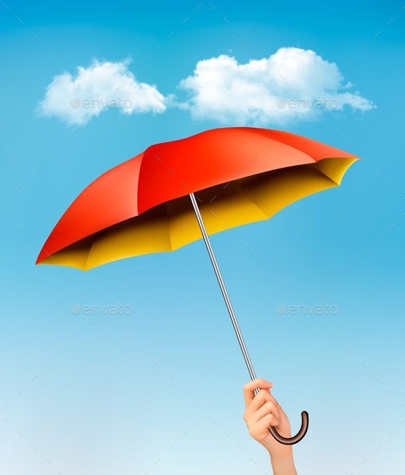 Hand Holding a Red and Yellow Umbrella - Seasons Nature