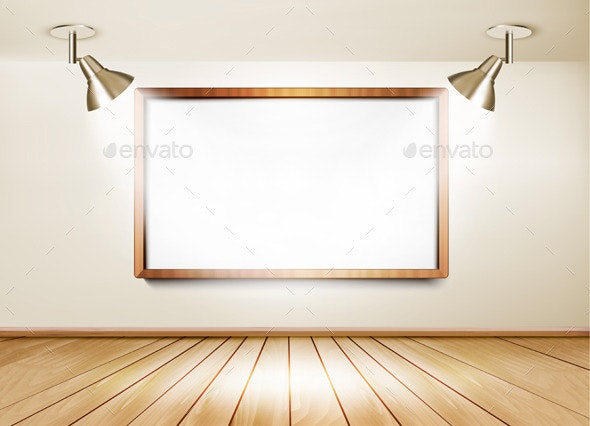Showroom with Wooden Floor White Board - Borders Decorative