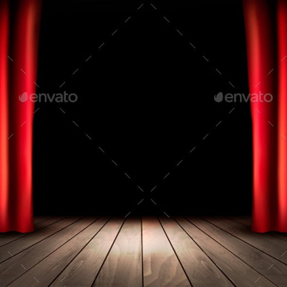 Theater Stage with Wooden Floor and Red Curtains