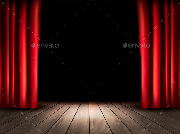 Theater Stage with Wooden Floor and Red Curtains - Decorative Vectors