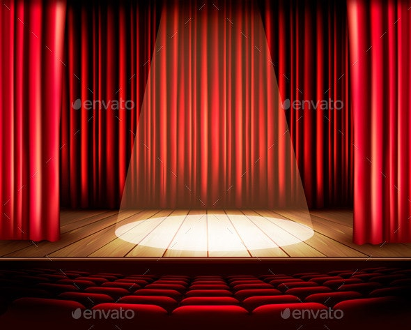 Theater Stage with a Red Curtain - Decorative Vectors