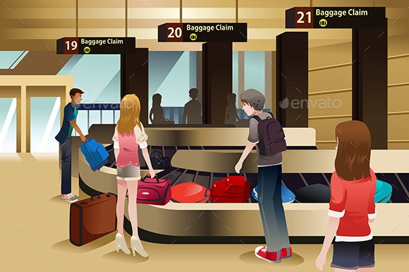 Travelers Waiting for Their Baggage - Travel Conceptual