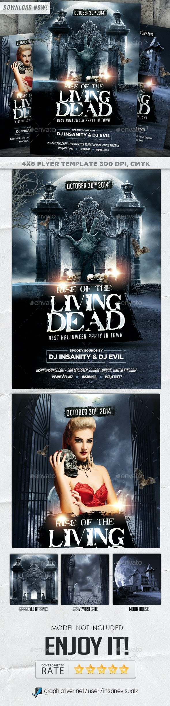 Living Dead Halloween Flyer - Holidays Events
