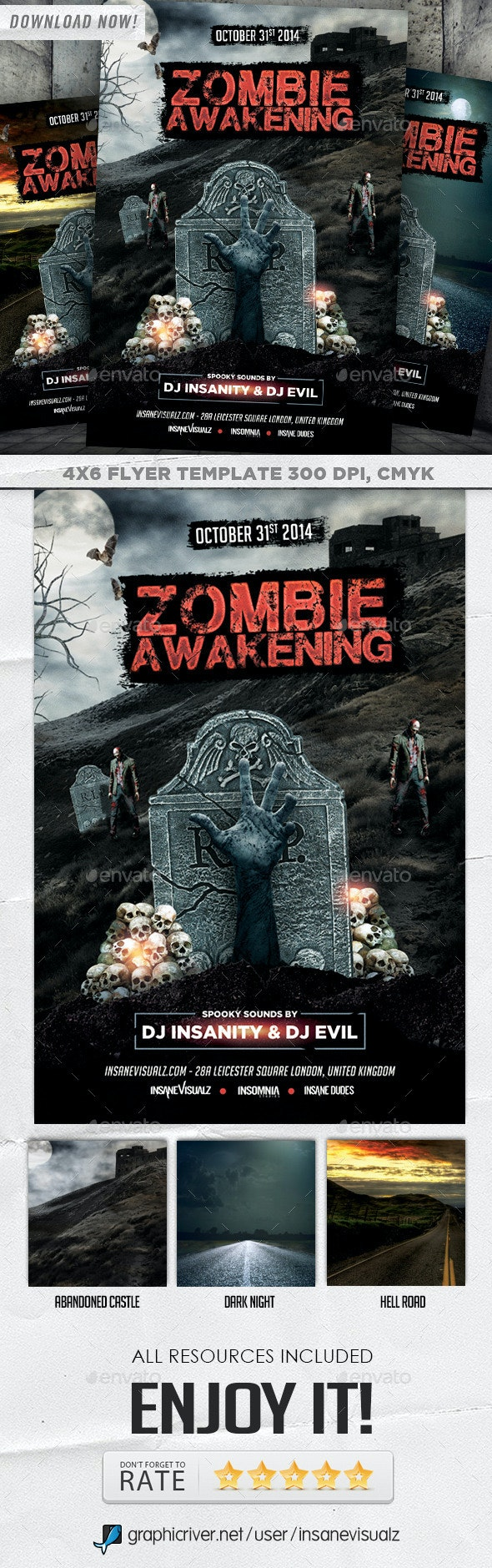 Zombie Awakening Halloween Flyer - Holidays Events